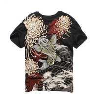 Primavera camisa de verano hombres y mujeres nueva carpa bordado de manga corta T-Shirt Harajuku Tshirt suelto Plus camisetas