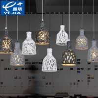 Nórdico retro cerámica hierro industrial colgante luces restaurante bar café comedor colgar lámpara 110-240 V