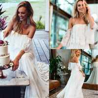 Rústico novia Boho Vestido de novia 2019 Abiti Da Sposa fuera del hombro Vestido Boda Chic Vestido de novia playa encaje Vestido de novia