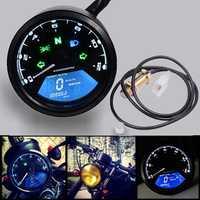Impermeable motocicleta Digital velocímetro cuentakilómetros tacómetro LCD de 12000 RPM medidor de combustible advertencia moto instrumento Refit