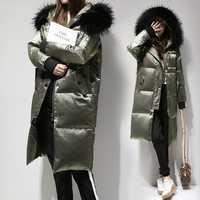 Fitaylor veste d'hiver femmes blanc canard vers le bas grand col de fourrure à capuche Long velours Parkas manteau femme mince vêtements d'extérieur de neige