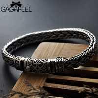 GAGAFEEL 925 pulseras de plata 100% ancho 8mm clásico cable de alambre enlace cadena S925 Thai pulseras de plata para Mujeres Hombres joyería regalo