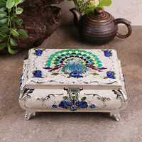 Meduim tamaño Europa tallada caja de joyería de metal caja de almacenamiento organizador de maquillaje regalos para Niñas para almacenamiento de maquillaje z117
