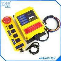 Radio Control Remoto A4S/AC110V industrial control remoto de la grúa del alzamiento interruptor de botón