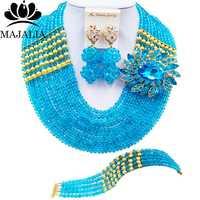 Conocida majalia lago bue nigeriano Cuentas joyería Set para mujeres collar de traje africano Boda nupcial Juegos de joyería 10cj0012