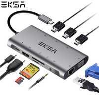 EKSA 10 en 1 USB Hub USB C con 4 K HDMI Puerto USB 3,0 SD/TF tarjeta lector VGA RJ45 Gigabit Ethernet para Dell/Samsung/Huawei P20