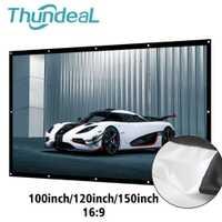 ThundeaL 100 16:9 120 de 150 pulgadas de pantalla de proyector portátil de lona blanco 3D HD teatro montado en la pared de planchado