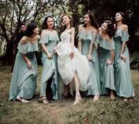Elegantes vestidos de dama de honor de salvia oscura Vestido largo de gasa con volantes de línea a 2019 para vestido de fiesta de boda Vestido de playa Boho vestidos de playa