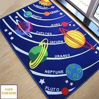 Niños Tapetes educativos Galaxy planetas estrellas Tapetes Azul Sistema solar forma Alfombras y Tapetes s niños habitación Bebé arrastrándose pad