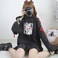 Estilo japonés Fox patrón negro sudaderas mujeres oscuro Vintage Punk rojo cinta empate Hoodie Otoño Invierno Pullovers Tops fresco