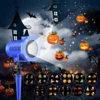 Proyector con 12 toboganes para Halloween, luces de Proyector láser LED, decoración navideña, iluminación para vacaciones