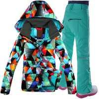 Gsou Snow traje de esquí de las mujeres chaqueta de Snowboard pantalones a prueba de viento impermeable térmico deporte al aire libre ropa de mujer ropa de esquí Super caliente