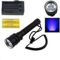 3000 lúmenes UV buceo LED flashligt 3x cree XPe 365nm-395nm ultravioleta antorcha buceo submarino Linterna + 18650 batería + cargador