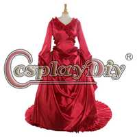Cosplaydiy Drácula Mina Harer rojo de bullicio mujeres Halloween Gawn