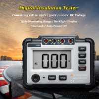 Jiguoor medidor de resistencia de aislamiento Digital medidor de MegOhm 250/500/1000 V DC ligero de gran alcance LCD Backlight VC60B +