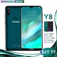 DOOGEE Y8 Smartphone MTK6739 3 GB RAM 16 GB ROM Android 9,0 FDD LTE 6,1 pulgadas 19:9 de agua LTPS pantalla 3400 mAh Dual SIM 8.0MP