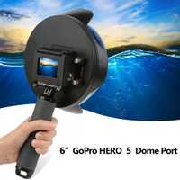 6 pulgadas Domo para Gopro Hero 7 6 5 Cámara de Acción negra con funda impermeable Go Pro 7 6 5 puerto domo de lente para accesorio Go Pro