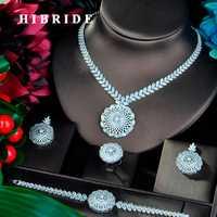 HIBRIDE de lujo colgante forma redonda Cubic Zirconia conjuntos de joyas para las mujeres de lujo de Dubai Nigeria boda juegos de joyería N-812