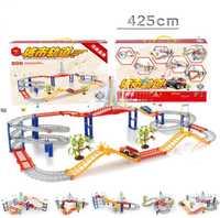Venta caliente 6 estilo luz y sonido eléctrico pista de coches de juguete DIY Asamblea Juguetes educativos Juguetes niños Juguetes