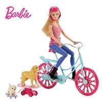 Barbie originales Kit de bicicleta perro de juguete para niños de muñeca Brinquedos para cumpleaños regalo kawaii CLD94