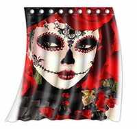 Custom Dia de los muertos Suger cráneo patrón poliéster Telas cortina de ventana tamaño 52 W x 63 H (una pieza)