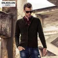 Enjeolon de marca para el invierno, Chaqueta de punto suéteres para hombre lana sólido suéter de hombre, casual chaqueta suéteres hombre M2013