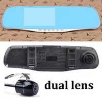 4,3 pulgadas Full HD 1080 P HD doble lente espejo coche DVR cámara trasera videocámara dash cam G-Sensor zoom digital grabadora de vídeo