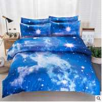 Conjunto de ropa de cama 3D galaxia Hipster caliente universo espacio exterior colchas impresión ropa de cama edredón funda de edredón hoja y funda de almohada E