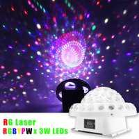 Mising DMX512 Control remoto DJ Iluminación de escenario RG láser gobos LED de cristal BOLA MÁGICA grande para interior partido Disco club bares