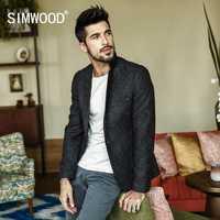 SIMWOOD 2018 otoño abrigos nueva los hombres de moda Casual Chaqueta de algodón Slim Blazer de traje Masculino Hombre Trajes chaqueta Blazer XZ017003