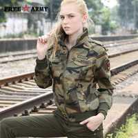 Otoño chaquetas militares de las mujeres 2018 nueva llegada de la mujer chaqueta de camuflaje otoño chaquetas gruesas para mujer abrigo de primavera y otoño Outwear