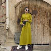 VERRAGEE 2019 las nuevas mujeres camisa vestido de primavera tobillo-vintage longitud suelta caqui color verde vestido largo maxi con cinturón