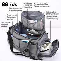 BBirds hombres multifunción 15 pulgadas portátil mochilas equipaje de mano, bolsa de viaje con zapatos de bolsillo de gran capacidad, Casual de lona de Nylon