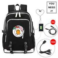 2018 nuevo divertido Gudetama impresión mochila de lona mochilas escolares para niñas adolescentes USB carga portátil mochila de viaje