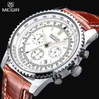 Relojes para hombre MEGIR reloj de pulsera deportivo de cuero genuino con cronógrafo de fecha automática de 24 horas a prueba de agua de marca superior