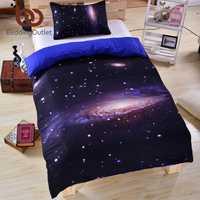 Conjunto de ropa de cama para galaxia 3D, estampado de luna de tierra, funda de edredón para espacio exterior con 2 fundas de almohada