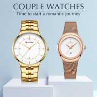 Relojes de pareja de hombres de lujo de marca superior CURREN reloj de pulsera de acero inoxidable resistente al agua calendario reloj de cuarzo conjunto de regalo fo