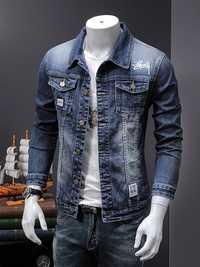 Chaqueta de mezclilla elástica delgada de un solo pecho para hombre tela de alta calidad abrigo de mezclilla azul para hombre trabajo fino, no se desvanecen