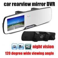 Nueva llegada de 2.7 pulgadas HD de Coches Espejo Retrovisor de Vídeo Digital 120 grados de ángulo ancho de visión nocturna motion detección coche DVR