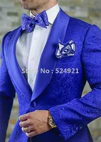 Marca nueva boda azul real esmoquin de novio chal de la solapa de los hombres trajes de boda/baile mejor hombre Blazer (chaqueta + Pantalones + corbata) C261