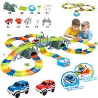 240 unids carreras DIY Asamblea rusa juguete vehículo Juguetes milagrosa pista curva flash Track navidad niños regalos
