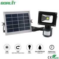 BORUiT 10 W LED Sensor de movimiento lámpara Solar impermeable al aire libre Luz de inundación jardín camino iluminación Solar Panel LED calle luz