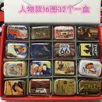 Zakka estilo colorido caja de lata retro caja de embalaje cajas de joyería mini cajas de almacenamiento 16 patrones * 2 32 piezas/ conjunto de ~