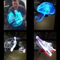 Proyector holográfico LED Universal más nuevo reproductor de holograma portátil 3D holográfico Dispaly ventilador único holograma proyector