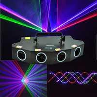 Nuevo proyector de luz láser DMX de 4 lentes 550 MW rlibras LED láser para discoteca DJ escenario club nocturno Bar evento Fiesta familiar