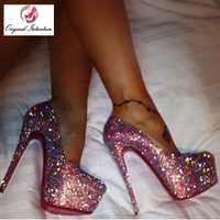La intención Original de estilo bombas de la Plataforma de las mujeres brillo Super tacones punta redonda zapatos bombas zapatos mujer señoras parte de gran tamaño 20