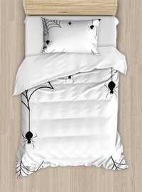 Araña Fundas nórdicas set arañas murciélagos y pequeñas estrellas monocromo cobwebby diseño Spooky horror elementos 4 unids Ropa de cama conjunto