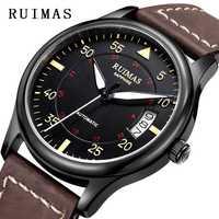 Hommes bracelet cuir tendance Montre Automatique D'affaires montres mécaniques Homme Horloge Montres RUIMAS Erkek Kol Saati MIYOTA 8215