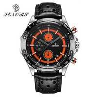 Relojes deportivos Senors 2018 multifunción para hombre, reloj deportivo de cuarzo, reloj de cuero resistente al agua, reloj de pulsera masculino con fecha automática