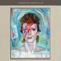 Artista pintado a mano de alta calidad David Bowie retratos pintura al óleo pintura de pared pinturas azules Decoración para el hogar del arte del carácter